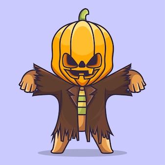 Śliczna głowa dyni halloween kostium maskotka charakter wektor ilustracja płaski styl kreskówki