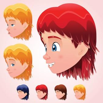 Śliczna głowa małego chłopca z wyrazem twarzy i czterema kolorami
