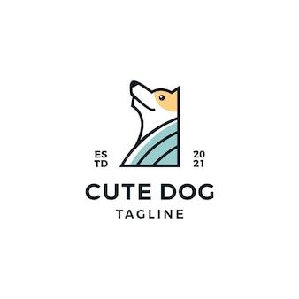 Śliczna głowa psa ilustracja projekt logo