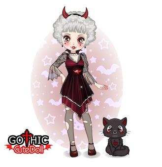 Śliczna gotycka kolekcja lalek i maskotka kota
