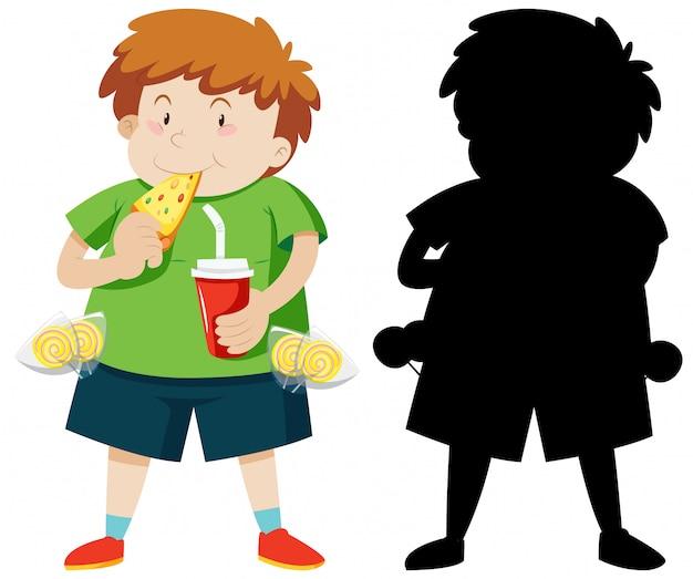 Śliczna gruba chłopiec je pizzę w kolorze i sylwetce