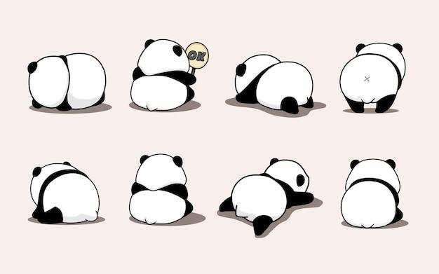 Śliczna gruba panda tyłem do twarzy z inną pozą i gestem