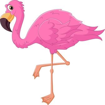 Śliczna Grupa Kreskówka Flamingo Premium Wektorów