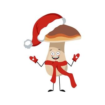 Śliczna grzybkowa postać z radosnymi emocjami, uśmiechniętą buzią, szczęśliwymi oczami, ramionami i nogami. śmieszna zdrowa zdrowa żywność, roślina leśna. symbol szczęśliwego nowego roku w czerwonym kapeluszu, szaliku i rękawiczkach świętego mikołaja