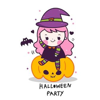 Śliczna halloween wektorowa dziewczynka na dyniowej kreskówce