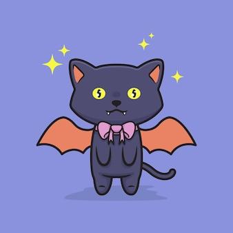 Śliczna halloweenowa czarna ilustracja kota