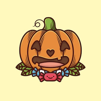 Śliczna halloweenowa dyniowa ilustracja