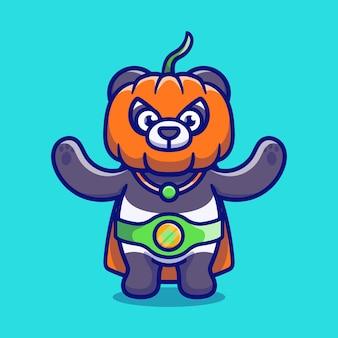 Śliczna halloweenowa panda superbohaterska ilustracja dyni