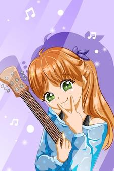 Śliczna i miękka dziewczyna z ilustracją kreskówki postaci gitary