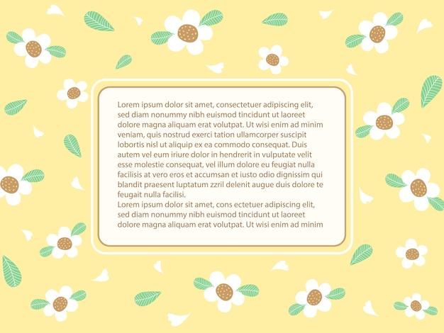 Śliczna i słodka pastelowa żółta walentynka z białym kwiatem i zielonymi liśćmi.