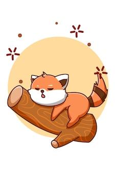 Śliczna i śpi czerwona panda na ilustracji kreskówki zwierząt drzewa tree