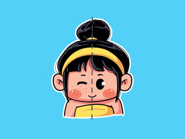 Śliczna i urocza dziewczyna przed i po trądziku ze skłonnością do pielęgnacji skóry manga ilustracja