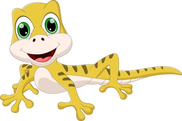 Śliczna i uśmiechnięta kreskówka jaszczurka