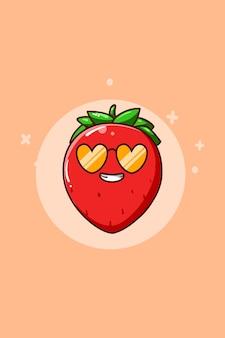 Śliczna i zabawna ilustracja kreskówka truskawka