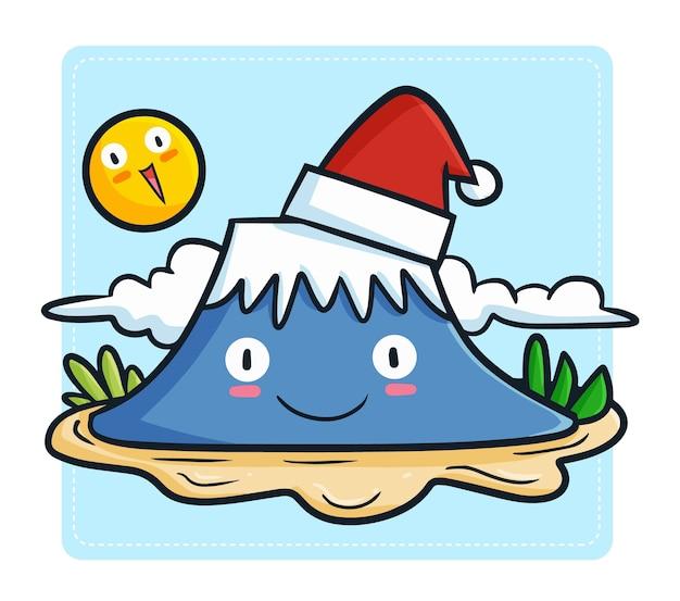 Śliczna i zabawna kawaii blue mountain w czapce mikołaja na boże narodzenie