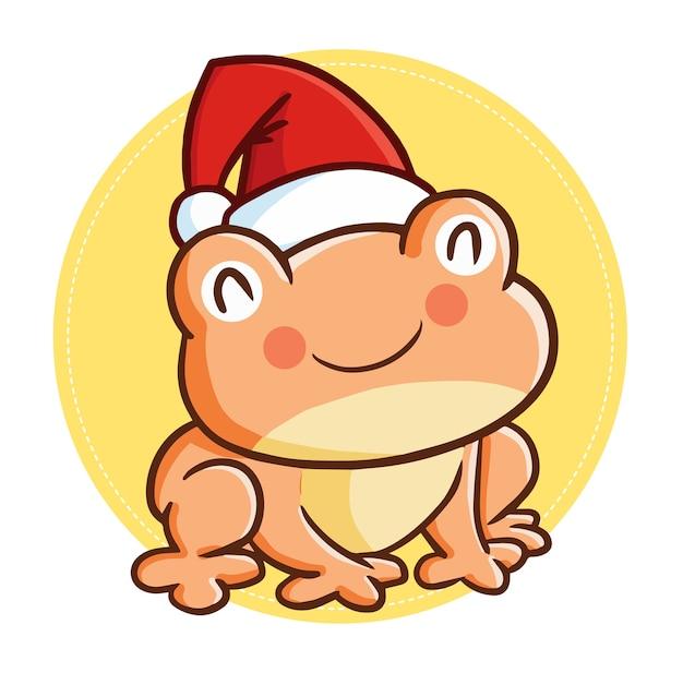 Śliczna i zabawna kawaii gruba żaba w czapce świętego mikołaja na boże narodzenie