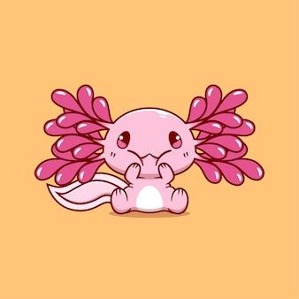 Śliczna ikona ilustracja axolotl