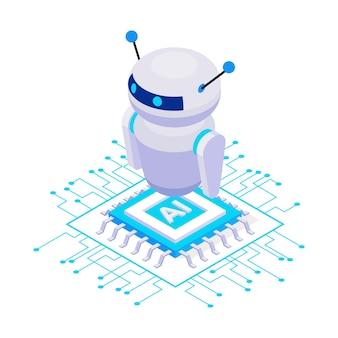Śliczna ikona izometryczna robota sztucznej inteligencji