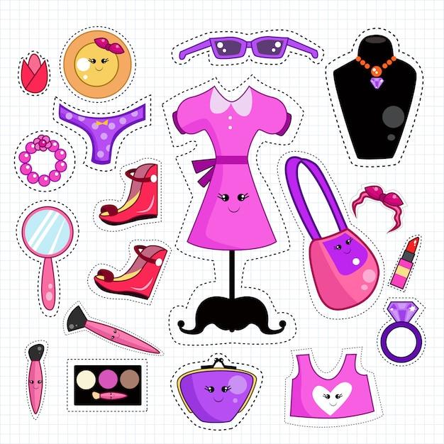 Śliczna ikona mody i łatki na naklejki