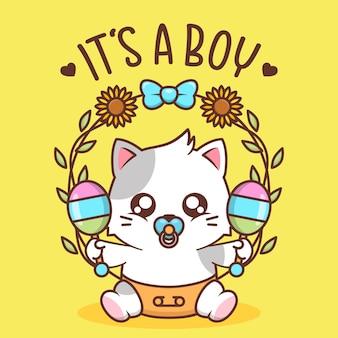 Śliczna ilustracja baby shower z kotkiem