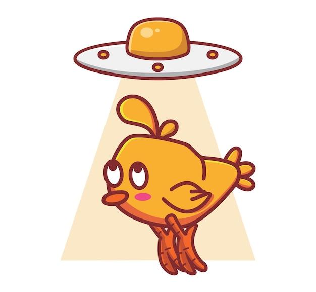 Śliczna ilustracja jajko ufo statek kosmiczny latający spodek przyniesie kurczaka. zwierzę izolowane kreskówka płaski styl naklejki web design ikona premium wektor logo maskotka charakter obiektu