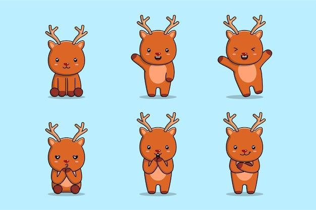 Śliczna ilustracja jelenia z różnymi czynnościami i wyrażeniami