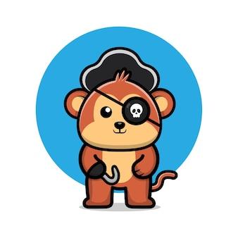 Śliczna ilustracja kreskówka małpa pirata