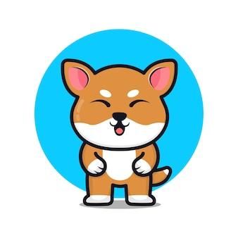 Śliczna ilustracja kreskówka pies shiba inu
