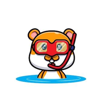Śliczna ilustracja kreskówka pływanie chomika