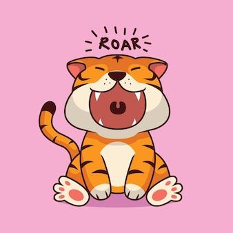 Śliczna ilustracja kreskówka ryk tygrysa