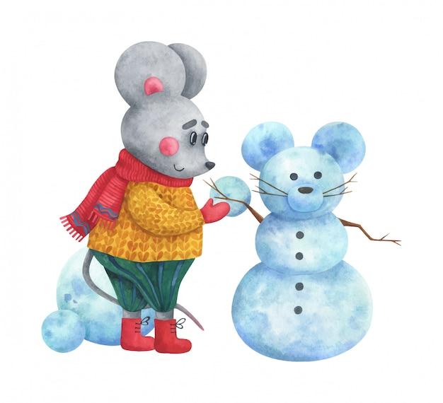Śliczna ilustracja kreskówki mysz robi bałwanu.