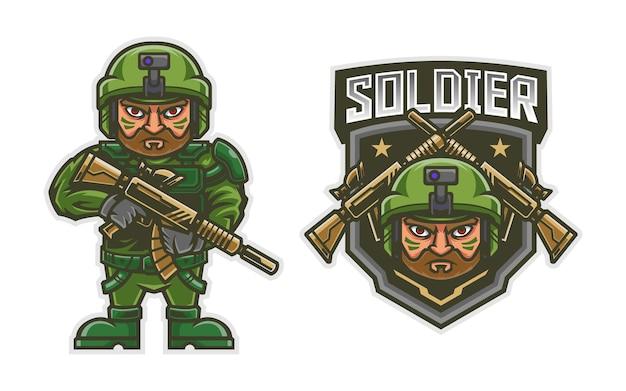 Śliczna ilustracja maskotka żołnierza