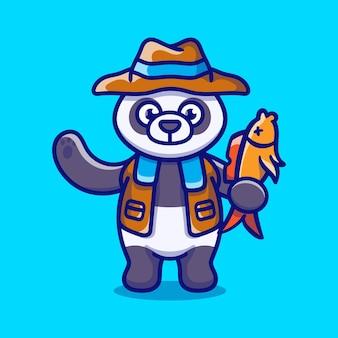 Śliczna ilustracja pandy łowi ryby