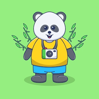 Śliczna ilustracja pandy z aparatem