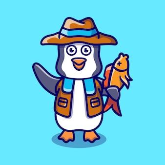 Śliczna ilustracja pingwina łowiąca ryby
