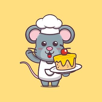 Śliczna ilustracja postaci kucharza myszy