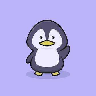 Śliczna ilustracja postaci pingwina, projekt maskotki