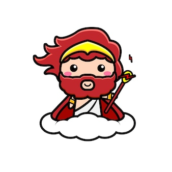 Śliczna ilustracja postaci zeusa na chmurze