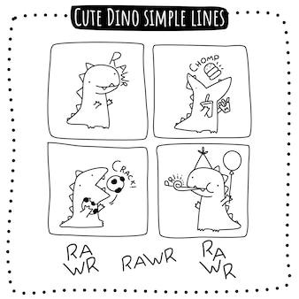 Śliczna ilustracja prostych linii dino