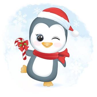 Śliczna ilustracja świąteczna pingwina i trzciny cukrowej