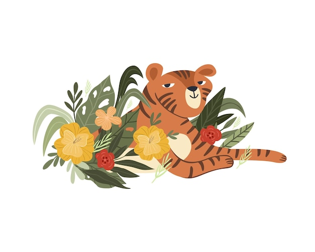 Śliczna ilustracja tygrysa relaksuje się w kwiatach