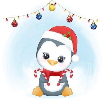 Śliczna ilustracja z pingwinem i trzciną cukrową zima i boże narodzenie