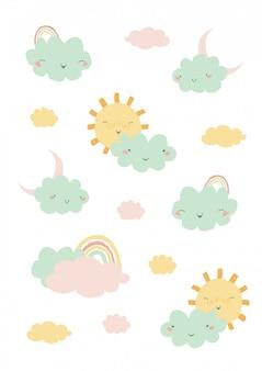 Śliczna ilustracja z tęczą, chmurami i słońcem