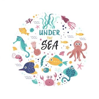 Śliczna ilustracja z wodorostami i ryba
