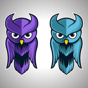 Śliczna ilustracyjna maskotka loga ptaka sowa. wektor