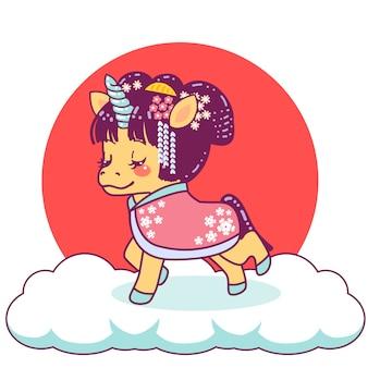Śliczna japońska gejsza jednorożca