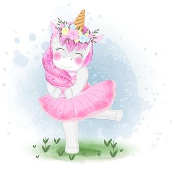 Śliczna jednorożec balerina z kwiat korony ilustracją
