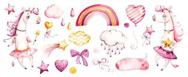 Śliczna jednorożec dziewczynka. akwarela przedszkola kreskówek magiczne zwierzęta, różowe chmury, tęcza. urocza księżniczka zestaw księżniczek