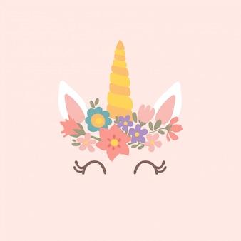 Śliczna jednorożec ilustracja z kwiatami