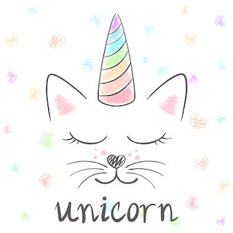 Śliczna jednorożec, kot meow ilustracja. śmieszna księżniczka i korona na t-shirt z nadrukiem. losowanie ręką